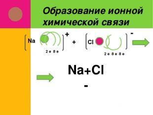 Образование ионной химической связи 2 е 8 е Na + Cl 2 е 8 е 8 е + - Na+Cl- Na+Cl
