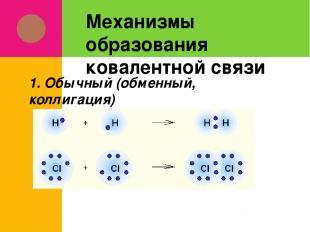 Механизмы образования ковалентной связи 1. Обычный (обменный, коллигация)