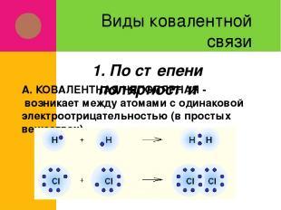 Виды ковалентной связи А. КОВАЛЕНТНАЯ НЕПОЛЯРНАЯ - возникает между атомами с оди