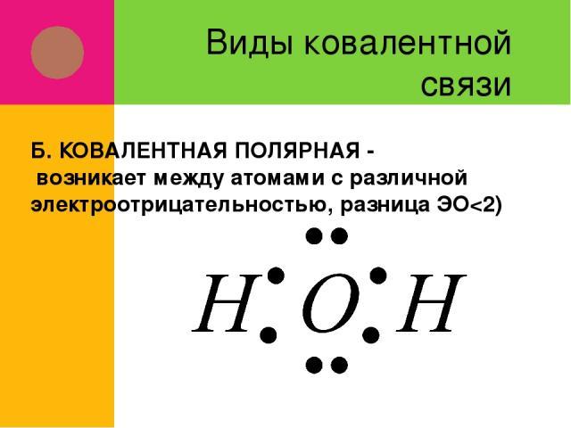 Виды ковалентной связи Б. КОВАЛЕНТНАЯ ПОЛЯРНАЯ - возникает между атомами с различной электроотрицательностью, разница ЭО