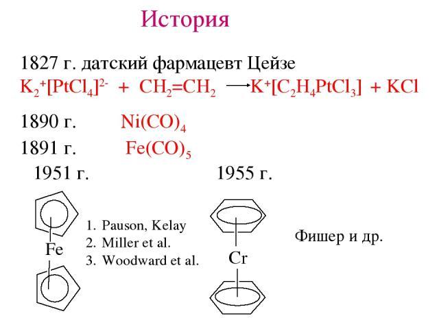 История 1827 г. датский фармацевт Цейзе K2+[PtCl4]2- + CH2=CH2 K+[C2H4PtCl3] + KCl 1890 г. Ni(CO)4 1891 г. Fe(CO)5 1951 г. 1955 г. Pauson, Kelay Miller et al. Woodward et al. Фишер и др.