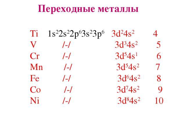 Переходные металлы Ti 1s22s22p63s23p6 3d24s2 4 V /-/ 3d34s2 5 Cr /-/ 3d54s1 6 Mn /-/ 3d54s2 7 Fe /-/ 3d64s2 8 Co /-/ 3d74s2 9 Ni /-/ 3d84s2 10