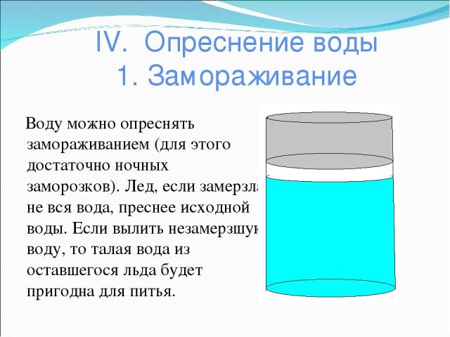 IV. Опреснение воды 1. Замораживание Воду можно опреснять замораживанием (для этого достаточно ночных заморозков). Лед, если замерзла не вся вода, преснее исходной воды. Если вылить незамерзшую воду, то талая вода из оставшегося льда будет пригодна …