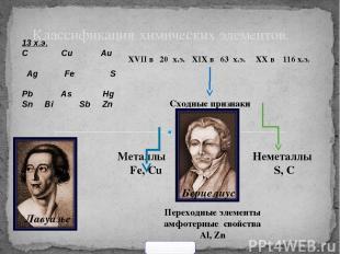 Классификация химических элементов. 13 х.э. С Сu Au Ag Fe S Pb As Hg Sn Bi Sb Zn