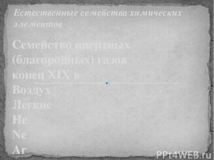 Семейство инертных (благородных) газов конец XIX в Воздух Легкие He Ne Ar Тяжелы