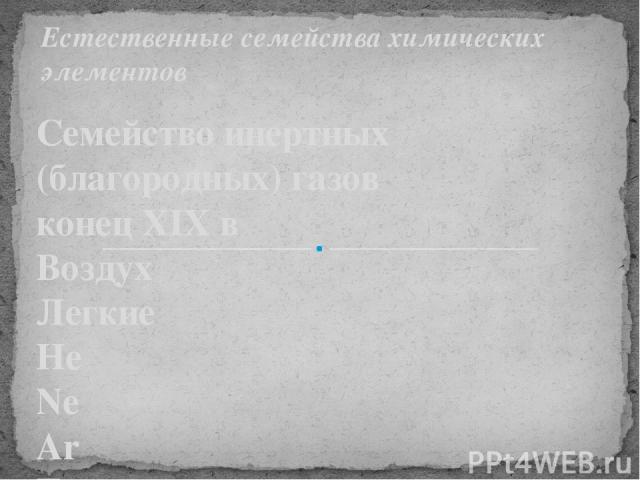 Семейство инертных (благородных) газов конец XIX в Воздух Легкие He Ne Ar Тяжелые Kr Xe Rn Естественные семейства химических элементов
