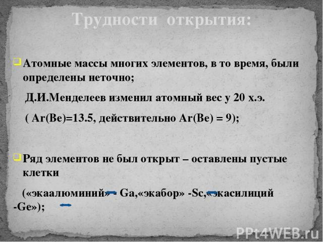 Атомные массы многих элементов, в то время, были определены неточно; Д.И.Менделеев изменил атомный вес у 20 х.э. ( Ar(Ве)=13.5, действительно Аr(Ве) = 9); Ряд элементов не был открыт – оставлены пустые клетки («экаалюминий» - Ga,«экабор» -Sc,«экасил…