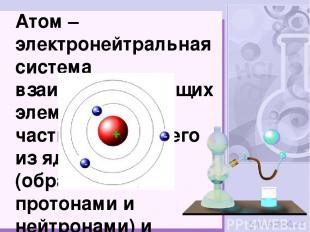 Атом – электронейтральная система взаимодействующих элементарных частиц, состоящ