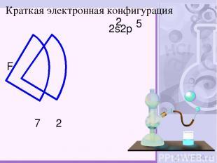 F 2 7 Краткая электронная конфигурация 2s2p 2 5