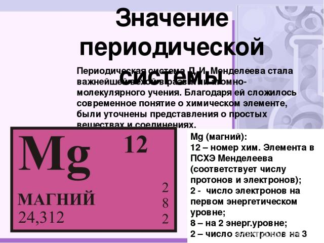 Значение периодической системы Периодическая система Д.И.Менделеева стала важнейшей вехой в развитии атомно-молекулярного учения. Благодаря ей сложилось современное понятие о химическом элементе, были уточнены представления о простых веществах и с…