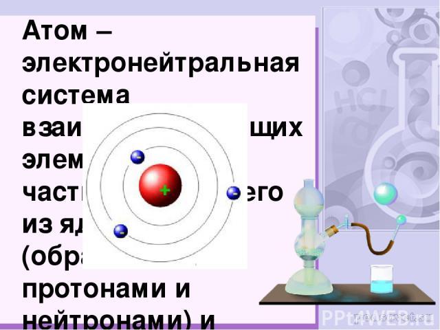 Атом – электронейтральная система взаимодействующих элементарных частиц, состоящего из ядра (образованного протонами и нейтронами) и электронов.