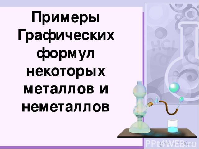 Примеры Графических формул некоторых металлов и неметаллов