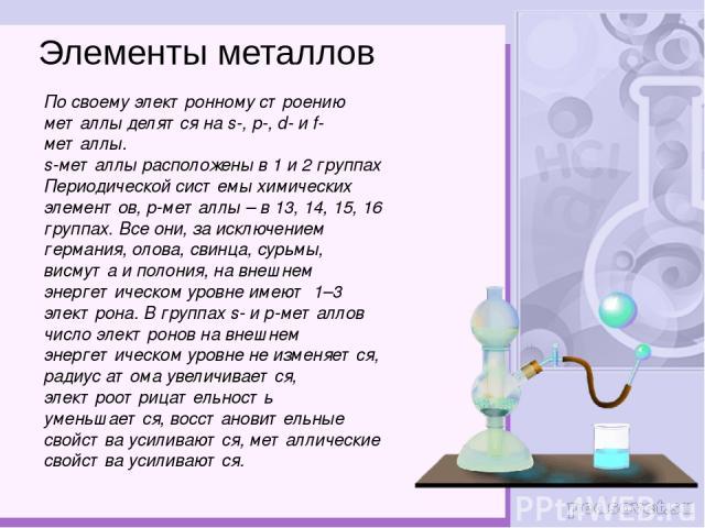 Элементы металлов По своему электронному строению металлы делятся на s-, p-, d- и f-металлы. s-металлы расположены в 1 и 2 группах Периодической системы химических элементов, р-металлы – в 13, 14, 15, 16 группах. Все они, за исключением германия, ол…