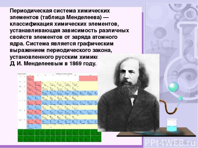 Периоди ческая систе ма хими ческих элеме нтов (табли ца Менделе ева)— классификация химических элементов, устанавливающая зависимость различных свойств элементов от заряда атомного ядра. Система является графическим выражением периодического закон…