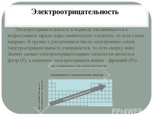 Электроотрицательность в периоде увеличивается с возрастанием заряда ядра химиче