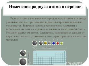Радиус атома с увеличением зарядов ядер атомов в периоде уменьшается, т.к. притя