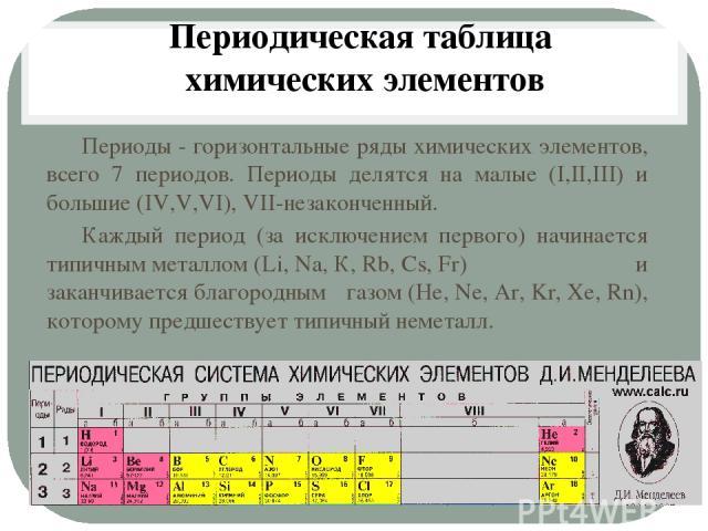 Периодическая таблица химических элементов Периоды - горизонтальные ряды химических элементов, всего 7 периодов. Периоды делятся на малые (I,II,III) и большие (IV,V,VI), VII-незаконченный. Каждый период (за исключением первого) начинается типичнымм…