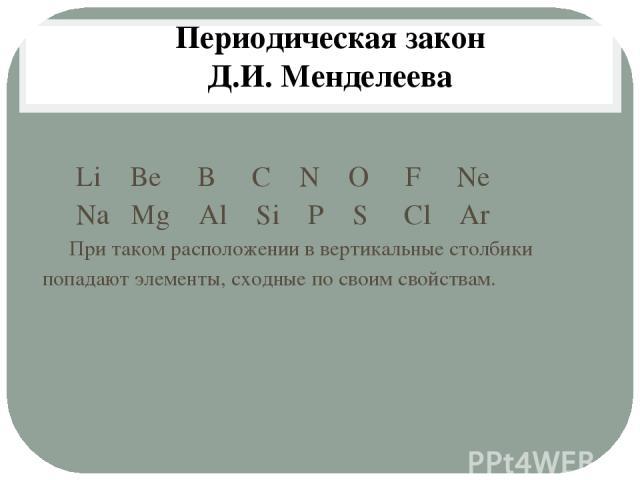 Li Be B C N O F Ne Na Mg Al Si P S Cl Ar При таком расположении в вертикальные столбики попадают элементы, сходные по своим свойствам. Периодическая закон Д.И. Менделеева