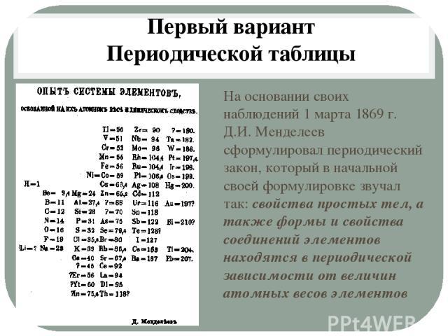 На основании своих наблюдений 1 марта 1869 г. Д.И. Менделеев сформулировал периодический закон, который в начальной своей формулировке звучал так: свойства простых тел, а также формы и свойства соединений элементов находятся в периодической зависимо…