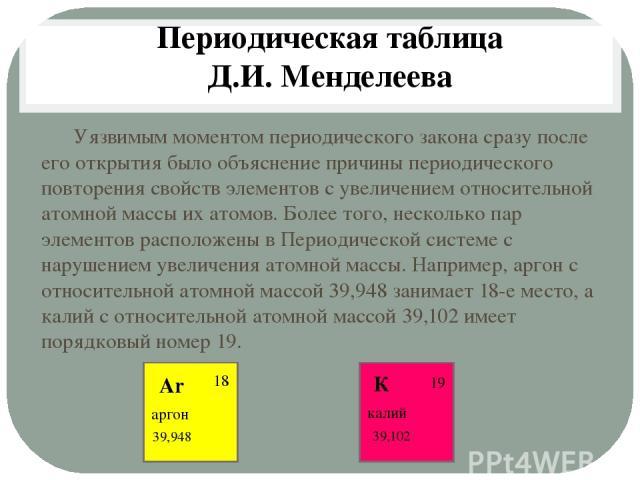 Уязвимым моментом периодического закона сразу после его открытия было объяснение причины периодического повторения свойств элементов с увеличением относительной атомной массы их атомов. Более того, несколько пар элементов расположены в Периодической…