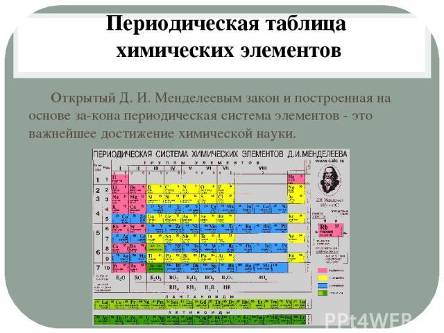 Открытый Д. И. Менделеевым закон и построенная на основе за кона периодическая система элементов - это важнейшее достижение химической науки. Периодическая таблица химических элементов