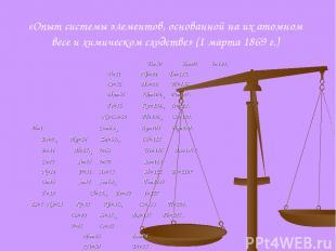 «Опыт системы элементов, основанной на их атомном весе и химическом сходстве» (1