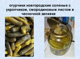 огурчики новгородские соленые с укропчиком, смородиновым листом в чесночной зали