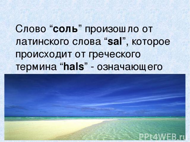 """Слово """"соль"""" произошло от латинского слова """"sal"""", которое происходит от греческого термина """"hals"""" - означающего """"море""""."""