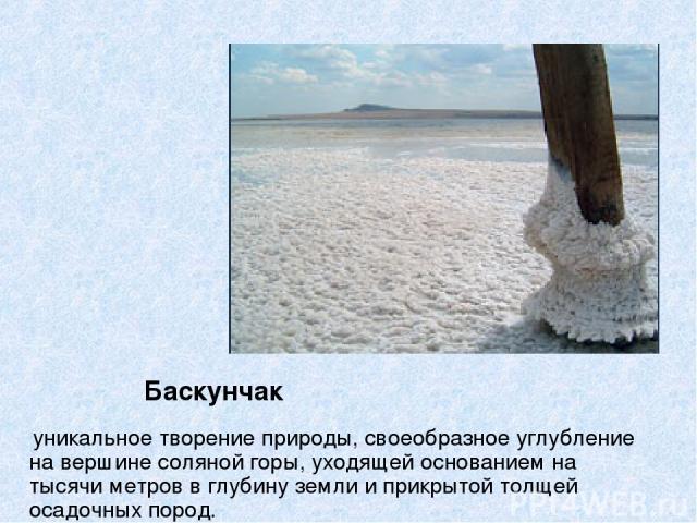 Баскунчак уникальное творение природы, своеобразное углубление на вершине соляной горы, уходящей основанием на тысячи метров в глубину земли и прикрытой толщей осадочных пород.