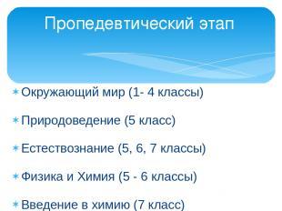 Окружающий мир (1- 4 классы) Природоведение (5 класс) Естествознание (5, 6, 7 кл