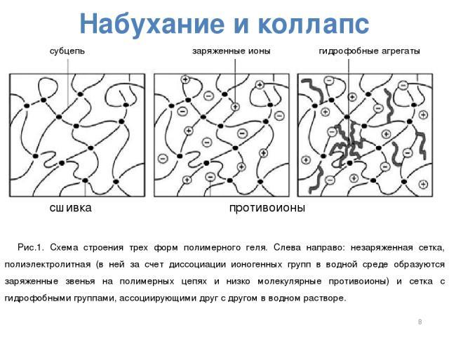 Набухание и коллапс субцепь заряженные ионы гидрофобные агрегаты сшивка противоионы Рис.1. Схема строения трех форм полимерного геля. Слева направо: незаряженная сетка, полиэлектролитная (в ней за счет диссоциации ионогенных групп в водной среде обр…
