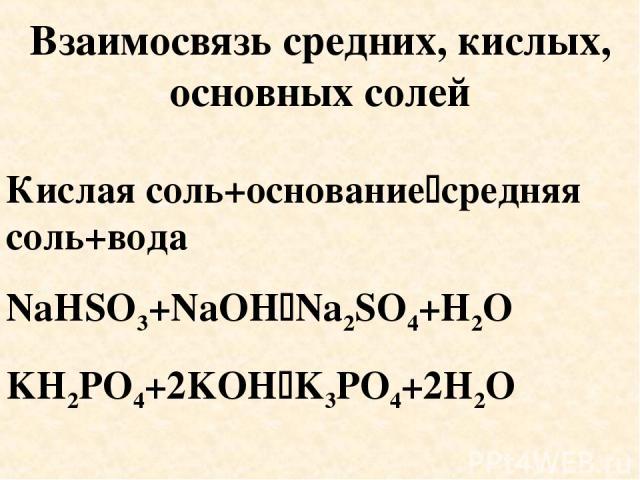 Взаимосвязь средних, кислых, основных солей Кислая соль+основание средняя соль+вода NaHSO3+NaOH Na2SO4+H2O KH2PO4+2KOH K3PO4+2H2O