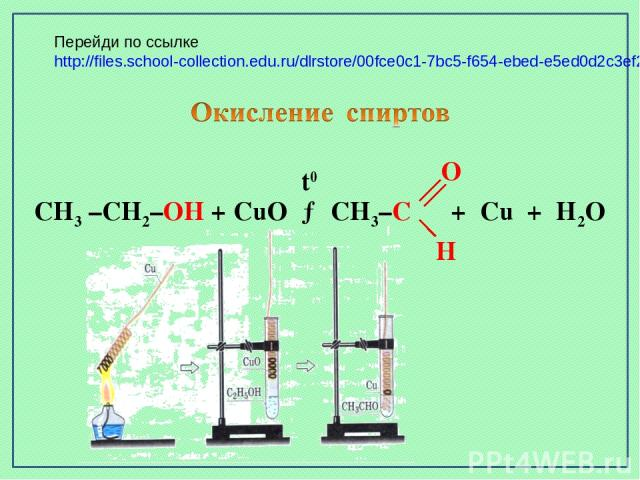 CH3 –CH2–OH + CuO → CH3–C + Cu + H2O t0 O H Перейди по ссылке http://files.school-collection.edu.ru/dlrstore/00fce0c1-7bc5-f654-ebed-e5ed0d2c3ef2/index.htm