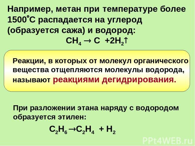 Например, метан при температуре более 1500 С распадается на углерод (образуется сажа) и водород: СН4 С +2Н2 При разложении этана наряду с водородом образуется этилен: С2Н6 С2Н4 + Н2 Реакции, в которых от молекул органического вещества отщепляются мо…