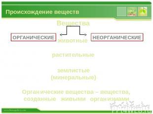 Происхождение веществ Вещества животные растительные землистые (минеральные) ОРГ