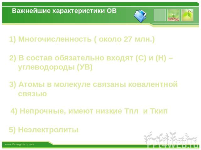 Органическая химия – раздел химической науки, изучающий углеводороды (УВ) и их производные СН4 СН3Cl (УВ) (производноеУВ) www.themegallery.com