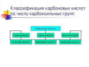 Классификация карбоновых кислот по числу карбоксильных групп