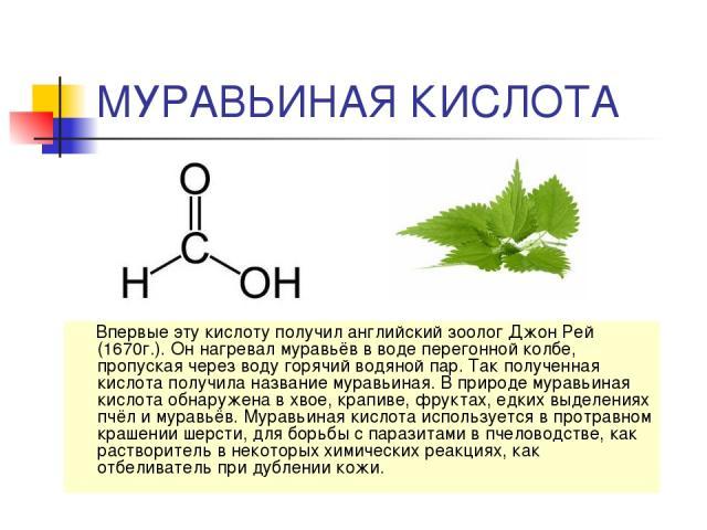 МУРАВЬИНАЯ КИСЛОТА Впервые эту кислоту получил английский зоолог Джон Рей (1670г.). Он нагревал муравьёв в воде перегонной колбе, пропуская через воду горячий водяной пар. Так полученная кислота получила название муравьиная. В природе муравьиная кис…