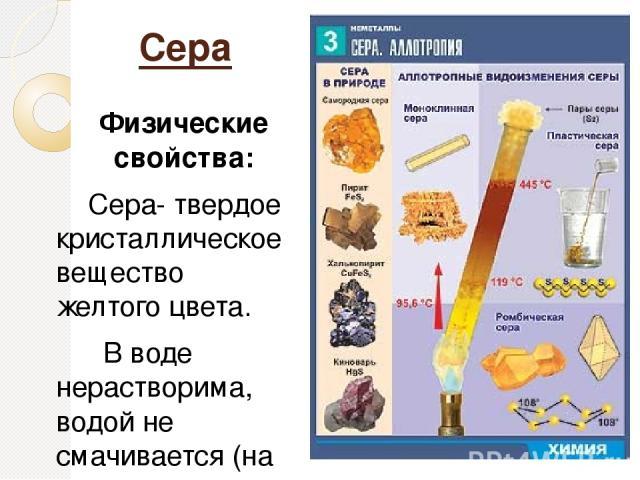 Сера Физические свойства: Сера- твердое кристаллическое вещество желтого цвета. В воде нерастворима, водой не смачивается (на поверхности воды плавает - «флотация»), t°кип = 445°С