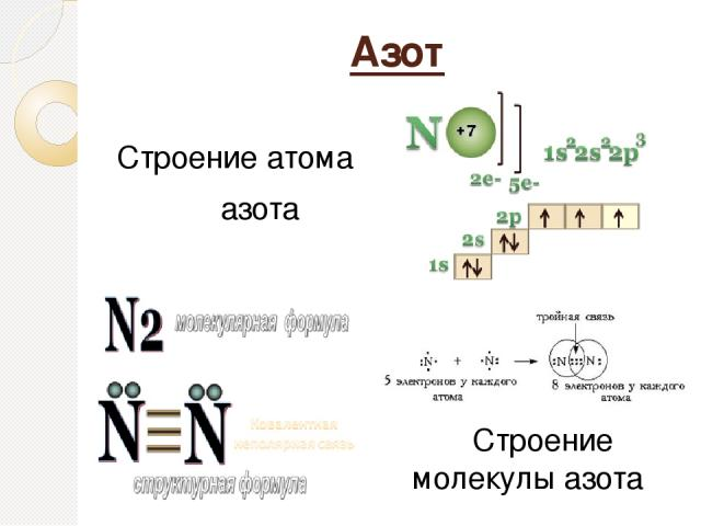 Азот Строение атома азота Строение молекулы азота