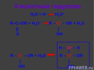 Кислотный гидролиз R–C–OR + H3O+ R – C+ – OR + H2O      O OH H2O + H+ H3O+ R – C