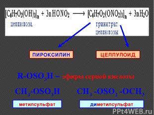 ЦЕЛЛУЛОИД ПИРОКСИЛИН R-ОSO3H – эфиры серной кислоты CH3-ОSO3H CH3 -ОSO2 -OCH3 ме
