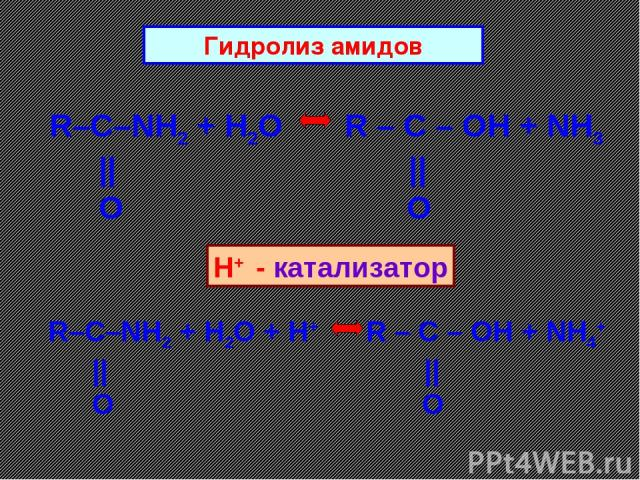 R–C–NH2 + H2O R – C – OH + NH3       O O Гидролиз амидов R–C–NH2 + H2O + H+ R – C – OH + NH4+       O O H+ - катализатор