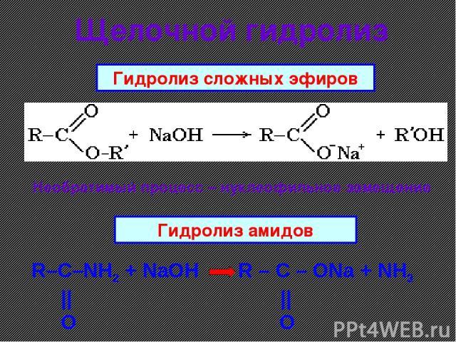Щелочной гидролиз R–C–NH2 + NaOH R – C – ONa + NH3 || || O O Гидролиз амидов Гидролиз сложных эфиров Необратимый процесс – нуклеофильное замещение