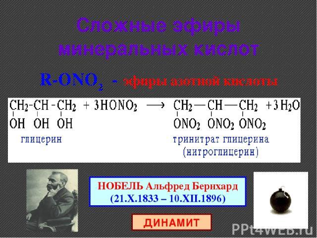 Сложные эфиры минеральных кислот R-ОNO2 - эфиры азотной кислоты НОБЕЛЬ Альфред Бернхард (21.X.1833 – 10.XII.1896) ДИНАМИТ