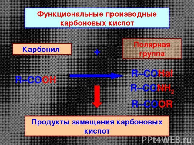 Функциональные производные карбоновых кислот Карбонил + Полярная группа Продукты замещения карбоновых кислот R–COOH R–COOR R–CONH2 R–COHal
