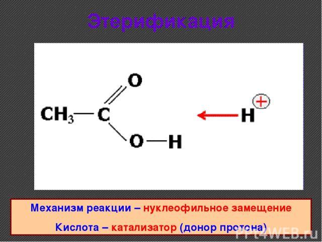 Этерификация Механизм реакции – нуклеофильное замещение Кислота – катализатор (донор протона)