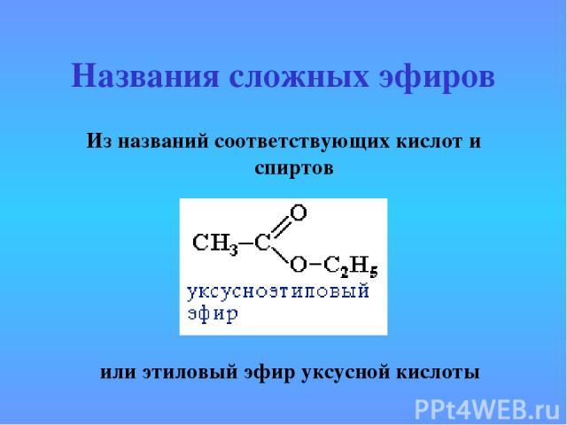 Названия сложных эфиров Из названий соответствующих кислот и спиртов или этиловый эфир уксусной кислоты