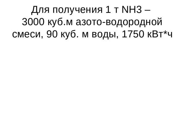Для получения 1 т NH3 – 3000 куб.м азото-водородной смеси, 90 куб. м воды, 1750 кВт*ч