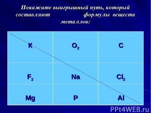 Покажите выигрышный путь, который составляют формулы веществ металлов: К O2 C F2